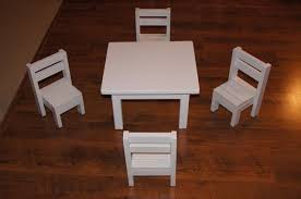 Free Wooden Doll Furniture Plans by Ana White Claras Table And 4 Stackable Chairs Sized For 18