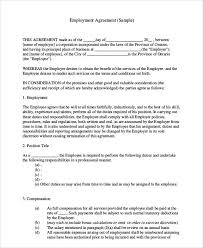 standard employment contract sample 7 examples in word pdf