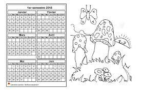 Calendrier 2018 à colorier semestriel format paysage pour enfants