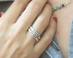 stacking name rings stackable name rings etsy