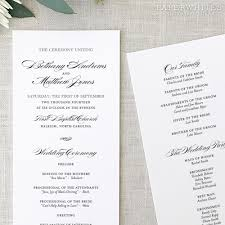 printed wedding programs formal elegance wedding programs paperwhites wedding invitations