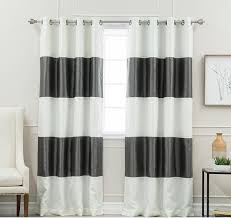 Grey And White Striped Curtains 84 Inch Charcoal Grey White Rugby Stripes Curtains Panel