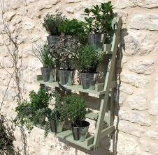 herb wall three tier herb and plant theatre with zinc pot set wall mount