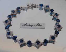 sterling silver bracelet with sapphire images Handmade sterling silver bracelet with sapphire cubic zircon 69 00 JPG