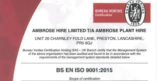 bureau veritas ltd ambrose achieves iso 9001 2015 accreditation ambrose plant hire