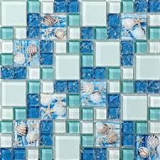 TST Mosaic Tiles Glass Conch Tiles Beach Style Sea Blue Glass Tile - Blue glass tile backsplash