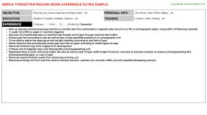 typesetter resume sample