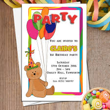 10 personalised teddy bear and balloons birthday party invitations n6