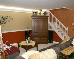 Painted Stairs Design Ideas Simple Basement Transformation Design Showcasing Living Room With