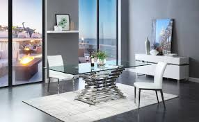Modern Dining Furniture Crawford Modern Rectangular Glass Dining Table