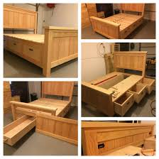 King Size Platform Bed With Storage Plans by I Just Finished This Build It Is A Queen Farmhouse Storage Bed