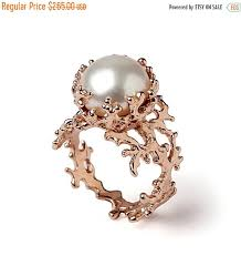 black friday wedding bands black friday sale coral rose gold ring gold pearl ring pearl