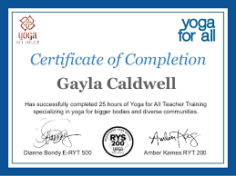 gayla caldwellyoga for all online training certificate of completion u2026