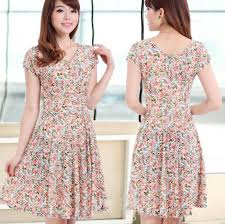 Peach Dress With V Neckline Small Floral Printed Casual Peach Pink
