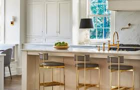 island kitchen stools gray leather and brass barstools transitional kitchen