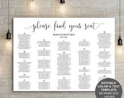 Wedding Poster Template Wedding Seating Chart Poster Template Word U2013 Mini Bridal