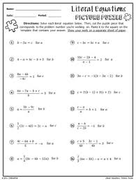 literal equations picture puzzle by chilimath algebra and more