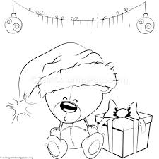 cute christmas teddy bear coloring pages u2013 getcoloringpages org