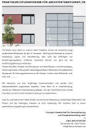 bewerbung praktikum architektur praktikum bei cibis architekten