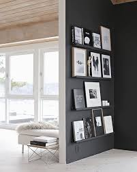 home interior shelves black painted wall with gallery shelves for picture frames home