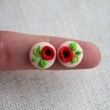 polymer clay stud earrings handmade polymer clay jhumka jhumki earrings magenta by vibgyour