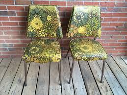 vintage set of 2 two yellow vinyl kitchen chairs retro yellow