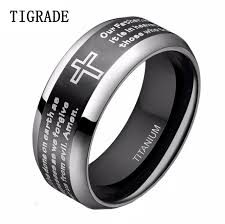 can titanium rings be engraved 8mm high polished silver edges bible lord s prayer cross titanium