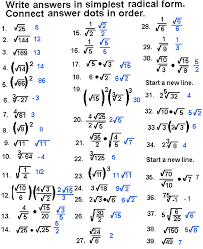 simplify radical expressions connect the dots puzzles