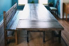 industrial oak table with benches abodeacious