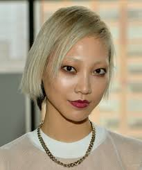 soo joo park side parted straight cut short hairstyles lookbook