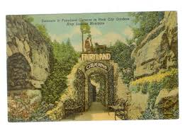 Rock City Gardens Tennessee Linen Postcard Entrance To Fairyland Caverns In Rock City Gardens