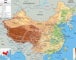 Physical Map Of Southwest Asia by Physical Map Of China Ezilon Maps East Asian Federation