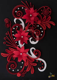 neli quilling art quilling card black red and white