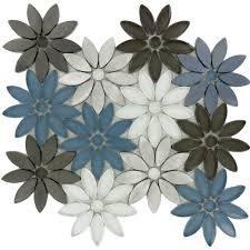Waterfall Glass Tile Flower Grey Glass And Metal Flower Tile Glossy Bqt 676