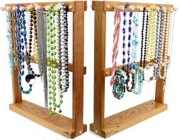 jewelry necklace holder stand images Jewelry holder necklace holder rack double sided bracelet wooden jpg