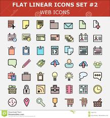 linear flat web icons set modern color flat ui design pictogram