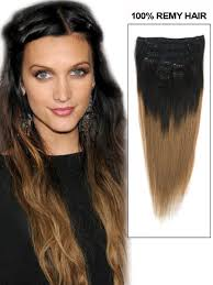 ombre hair extensions uk inch ash brown and black ombre clip in hair extensions two