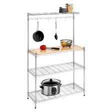 Contemporary Bakers Rack Kitchen Shelving Unit With Cutting Board And Baker U0027s Rack Target