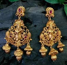 fabulous earrings fabulous gram antique gold finish temple jhumki earrings with