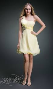 yellow one shoulder short bridesmaid dress dvw0095 vponsale