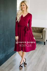 Trendy Women S Clothing Boutiques Online Burgundy Wrap Modest Dress Best Online Modest Boutique For