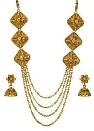 gold rani haar sets rani haar multi strand necklace jhumki jewellery set at rs 440