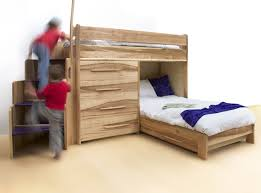 Bunk Bed With Stairs And Drawers Modern Wooden Bunk Bed With L Shape Features Curved Steps And