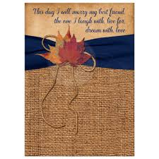 autumn leaves on simulated burlap wedding invitation printed
