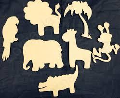 wooden cutout stencil letters safari animals craft shapes x 7