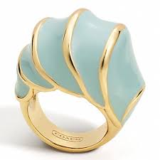 domed ring coach f96122 enamel shell domed ring gold seafoam coach new
