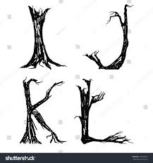 halloween letters broken trees stock vector 153385856 shutterstock