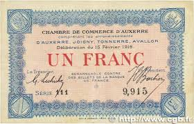 chambre du commerce auxerre 1 franc regionalism and miscellaneous auxerre 1916 jp 017 08