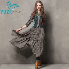 summer style women dress 2017 yuzi may vintage tunic cotton combo