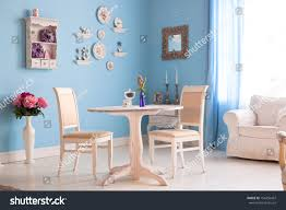 Blue Dining Rooms Dining Room Interior Flowers Decorative Plates Stock Photo